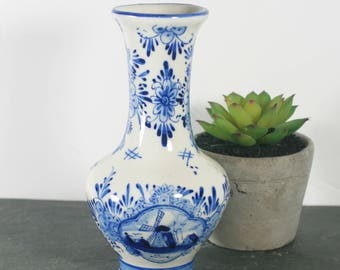 Handpainted Delft Blue Vase, Dutch Windmill Vase, Blue and White Pottery