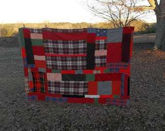 Plaid Wool Blanket | Wool Stadium Blanket | Crazy Quilt Blanket | Primitive Farmhouse Rustic Cabin Decor Plaid PicnicThrow