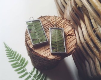 Fern necklace, Green fern plant pendant, Forest jewelry, Botanical necklace, Herbarium Flower Natural History, Christmas gift for her