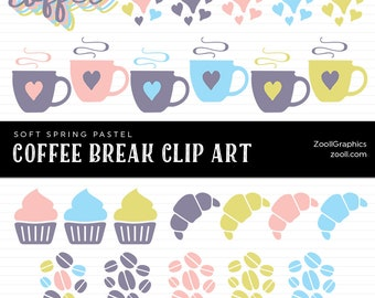 Coffee Break Soft Spring Pastel Clip Art, 27 PNG Files, Transparent Background, Commercil Use, INSTANT DOWNLOAD