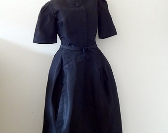 1960s Teal Traina Dress / black silk taffeta cocktail gown / designer vintage evening wear