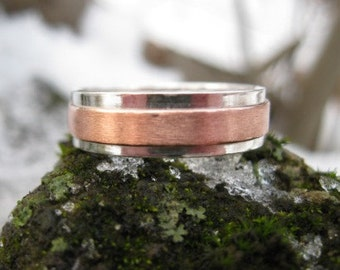 Copper Ridge Wedding Band . personalized mens mixed metal ring . sterling silver and copper band . made to order in your size