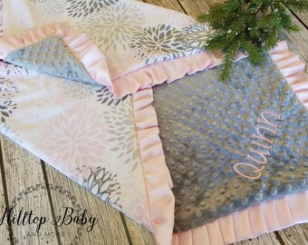 Gray and Pink Personalized Baby Girl blanket, Floral Baby Girl Shower Gift, Boho Minky Blanket