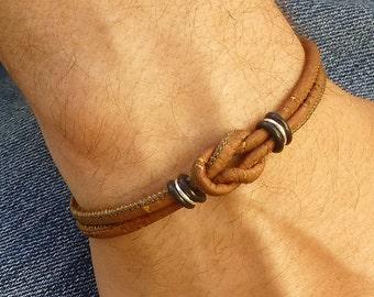Vegan Leather Bracelet, Celtic Bracelet, Vegan Jewelry, Eco Friendly Jewelry, Infinity Knot, Love Knot Bracelet, Cork Bracelet, Celtic Knot