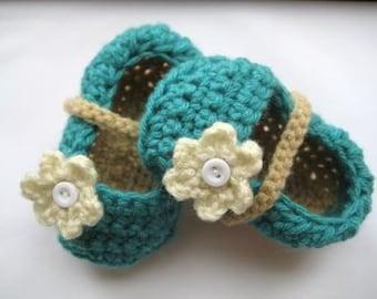 Crochet Booties Pattern, Crochet Pattern Booties  for Girls in 4 sizes,   Ballet Flats