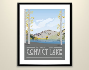 Convict Lake California Vintage Wedding Landscape 11 x 14 Poster - Can personalize with Names and date (frame not included)