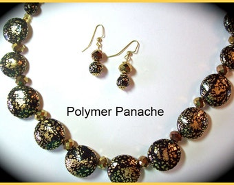 Black Polymer Clay Gold Leaf 17 in. Necklace and Earrings One of a Kind Handcrafted