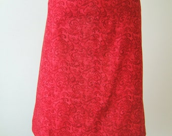 Red scroll half apron