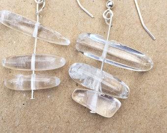 Contemporary Earrings, Crystal Dangle Bead Earrings, Handmade Drop Earrings, Designer Dangly Earrings, White Crystal Earrings