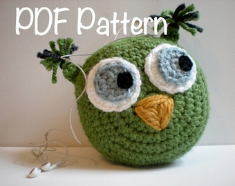 PATTERN: Owl Ipod Buddy, pillow, charging station, Easy Crochet PDF, kids, cozy sleeve case cover, pocket, INSTANT dOwNlOaD