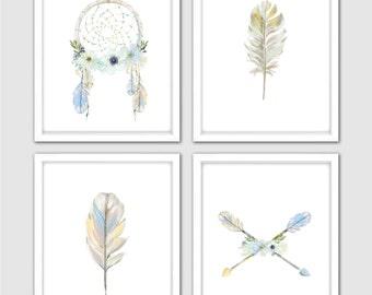 Blue Dream Catcher Art Watercolor Set of 4 Prints for Your Dream Catcher Nursery Decor