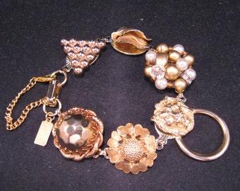 Vintage Earring Bracelet, Bridesmaid Gift, Wedding Bracelet, Upcycled, Jennifer Jones, Gold, Lion, Cluster, Under 40, Gift Set, OOAK - Leo
