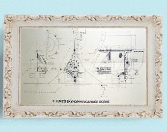 1977 LUKE'S SKYHOPPER Star Wars Vintage Blueprint Poster
