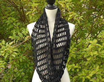 Crochet black and silver wire, snood scarf