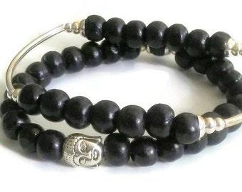 Black wood Buddha Bead meditation bracelet set