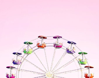 pink baby girl nursery art ferris wheel photography print carnival wall art photo ferris wheel print little girl room decor nursery ideas