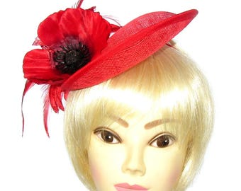Large Red Poppy and flower hat upturn brim with headband, Weddings, Ascot, Races, Ladies Day