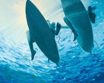 "GICLEE Fine Art Reproduction on 8 1/2"" x 11"" Fine Art Paper - Liquid Sunshine by Daina Scarola (two surfers, underwater, blue ocean)"