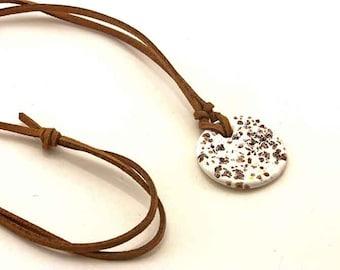 Ceramic Pendant on Chamois Leather String