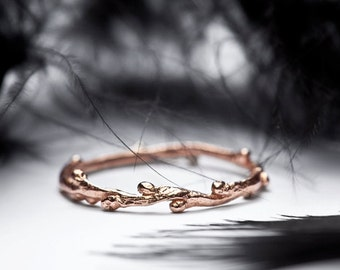 wedding band in 14k rose gold - slim stacking ring - twig branch wedding ring
