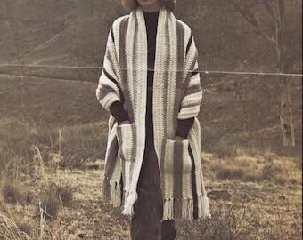 Crochet Poncho Pattern, Instant Download, VINTAGE CROCHET PDF, Womens Poncho, 8 ply pattern, 12 ply pattern, Crochet Pattern, 1970s
