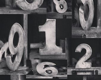Black And White Collage Of Metal Numbers 1 Through 10