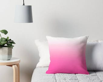 Pink Pillow, Pink Ombre Pillow, Pink and White Pillow, Ombre Pillow, Pink Toss Pillows, Pink Cushion, Pink Room, Pink Bedding, Pink Decor