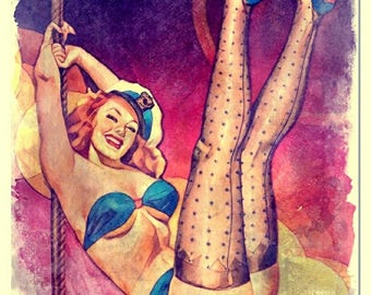 Burlesque Watercolor Painting Artistic Press