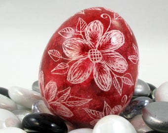 Pysanky, Pisanki, Ukrainian Egg, Alcohol Ink Egg, Skrobanki, Easter Egg, Ukrainian Easter Egg, Scratched Egg, Pysanky Egg, Red Floral