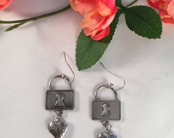 Distinctive Silver Hearts with Locket Earrings