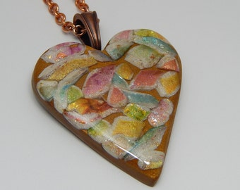 Polymer Clay Faux Gemstone Heart. Faux Gemstone Pendant. Polymer Clay Necklace.