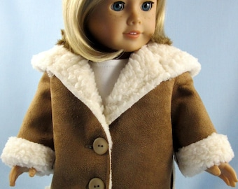 18 Inch Doll Jacket - Doll Clothes - Will Fit American Girl - Chestnut Sherpa Suede - 18 Inch Doll Clothes - Doll Clothing