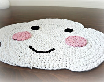 Happy Cloud - crocheted nursery area rug