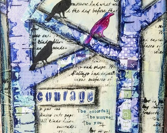 Courage Mixed Media Art Print on Wood