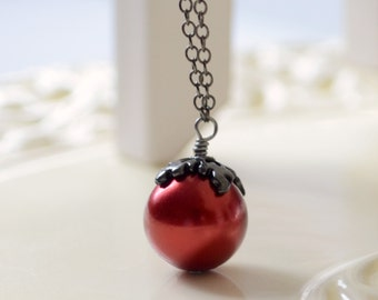 Hallowe'en Necklace, Black Gunmetal Plated Chain, Dark Red Glass Pearl, Fun Spooky Holiday Jewelry
