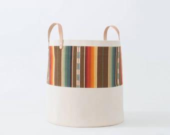 Large Natural Canvas Bucket Basket: Orange + Brown