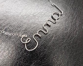 Sterling Silver Name Necklace Emma Personalised Necklace Custom Name Necklace Word Sterling Silver Word Necklace Wire Name Necklace
