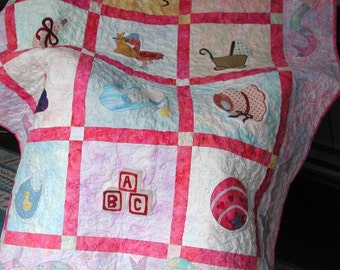 Pink Pastel Baby Quilt, Toys
