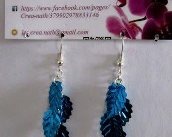Blue leaf earring