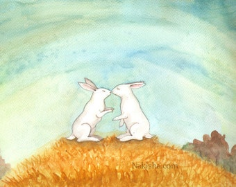 RESERVED for LS - Original Art - First Kiss - Watercolor Rabbit Painting