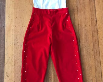 Red Velveteen Rhinestone Capri Pants. Size Small