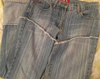 Vintage 90s light wash fringe flare jeans - Zana Di
