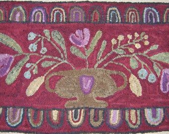 Urn with flowers, hooked rug