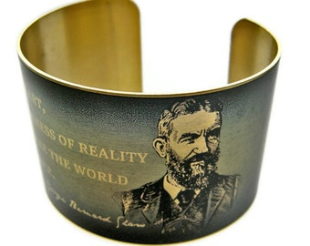 """GEORGE BERNARD SHAW cuff bracelet """"Without art, the crudeness of reality..."""" vintage style brass Free Shipping"""