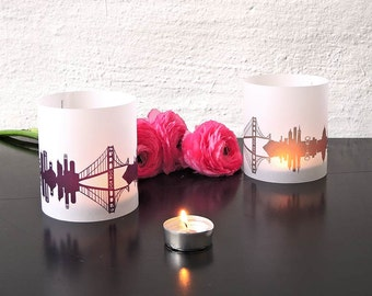 2 Light Covers SAN FRANCISCO Print for Tea Light Table Lantern, San Francisco luminaries centerpiece,  gift souvenir San Francisco Fan Love