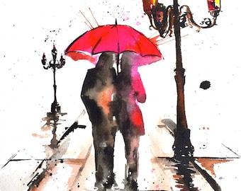 Paris Love Art Print, Watercolor Painting, Romantic Bliss by Lana Moes, Travel Illustration, Paris Wanderlust, City of Love