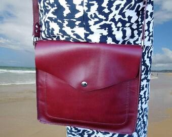 Burgundy Red Crossbody Leather Bag