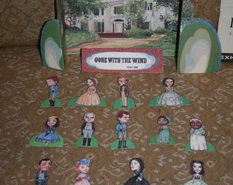 """Vintage 50th Anniversary """"Gone With the Wind"""" Paper Dolls, Wonderful GIANT Movie Book + More--All That U See in Pics!!!"""