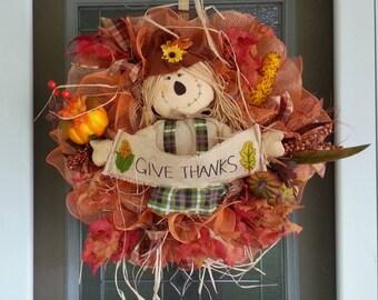 FALL Wreath, Thanksgiving Wreath, Front Door Wreath, Holiday Home Decor, Scarecrow Wreaths, AUTUMN Wreath, Fall Home Decor, Wreaths for Fall