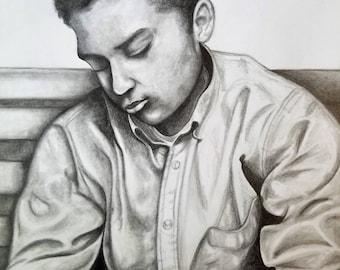 Custom Portrait Drawing- Family Portrait Art, Custom Portrait Illustration- Custom Portrait Graphite Pencil- Pencil Drawing